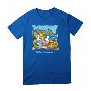 Tee-shirt bleu coton bio îles Chausey