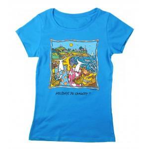 Tee-shirt coton bio bleu azur îles Chausey