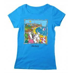 Tee-shirt coton bio bleu Granville