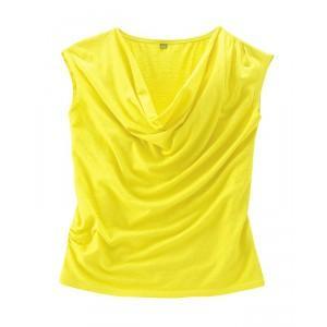 Top drapé jaune chanvre coton bio Sissy
