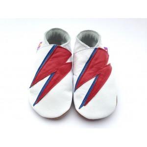 Chaussons cuir souple blanc David Bowie