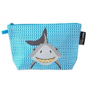 Trousse bleue à soufflet coton bio requin