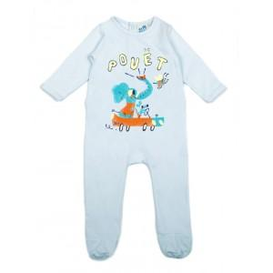 Pyjama bébé bleu coton bio Pouët