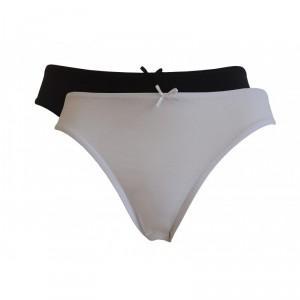Lot de 2 slips boxers femme coton bio noir, blanc et gris