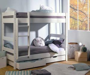 Lit Enfant Superposé Wood Blanc 90x190 cm