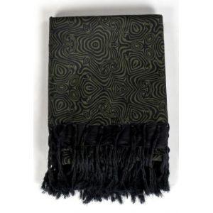 Cheche foulard épais noir vert formes psychedeliques