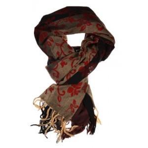 Cheche foulard noir gris fleurs royales