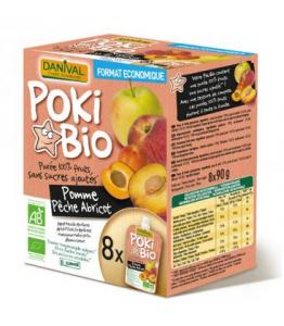 POKIBIO - Purée Pomme Pêche Abricot 100% fruit bio