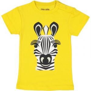 T-shirt coton bio 1 an jaune Zèbre