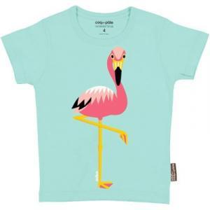 T-shirt coton bio bleu flamant rose