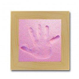 Kit d'empreinte bébé cadre carré - rose
