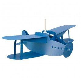 Suspension Avion Biplan bleu