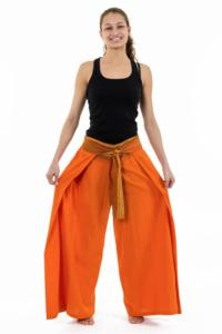 Pantalon ethnique leger ceinture sari brillant orange Orih