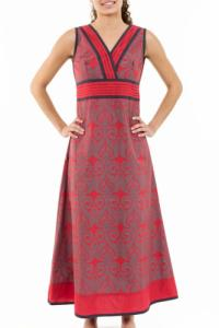 Robe longue ethnique chic rouge gris Alycia