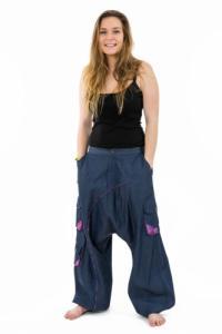 Sarouel baggy femme urban ethnic blue jean denim et violet Sikha