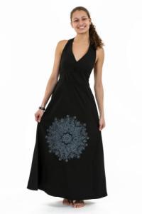 Robe longue dos nu mandala print noir gris Jeanne
