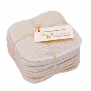 10 carrés démaquillants lavables en bambou écru