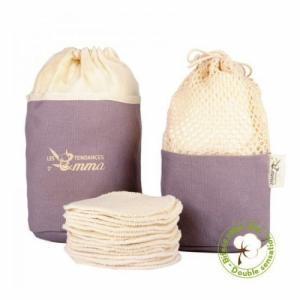 Kit Eco Belle Trousse Coton bio biface - 15 carrés démaquillants lavables