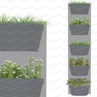 Jardin vertical 5 bacs, fond gris clair bac anthracite
