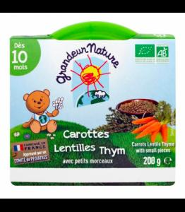 Purée de carottes, lentilles et thym pour bébé bio