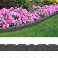 Bordure de jardin effet pavés 122cm - Caoutchouc recyclé