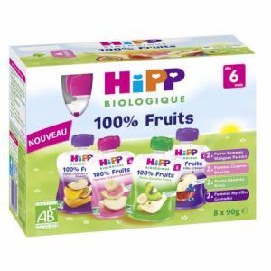 HiPP Pack de 8 Gourdes Fruits dès 6m