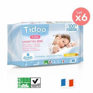 TIDOO 6 x 58 Lingettes sans parfum