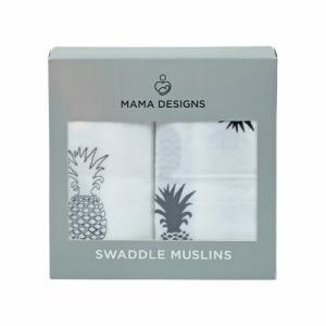 Coffret de 2 maxi langes mousseline de coton Ananas Mama Designs