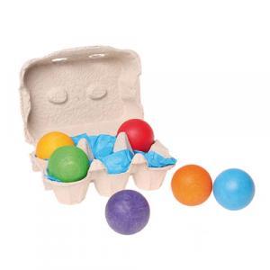6 Balles en bois multicolores