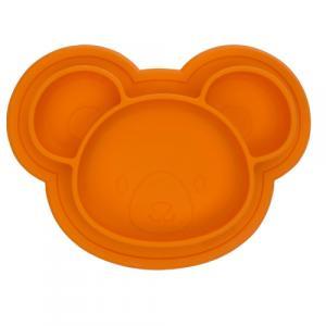 Assiette en Silicone modèle Ourson Orange