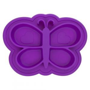 Assiette en Silicone modèle Papillon Violet