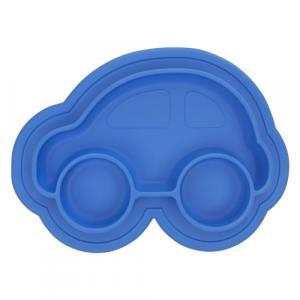 Assiette en Silicone modèle Voiture Bleu