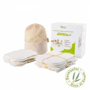 Kit eco chou eucalyptus biface  - 10 carrés bébé et 10 gants de change