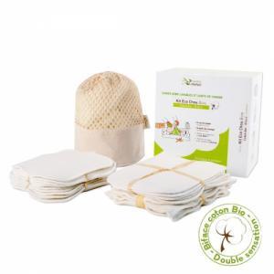 Kit eco chou coton bio biface - 10 carrés bébé et 10 gants de change
