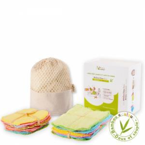 Kit eco chou couleur - 10 carrés bébé et 10 gants de change