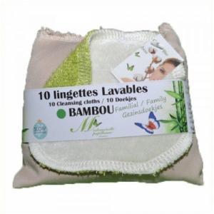 Lot de 10 lingettes lavables familiales Bambou (Vert Lime)