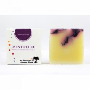 SAVON BIO - VEGAN MENTH'EURE - Peaux mixtes et sèches - Menthe poivrée - Géranium rosat