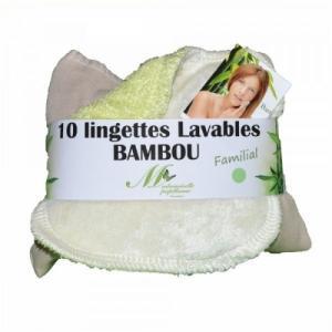 Lot de 10 lingettes lavables familiales Bambou (Vert Pâle)