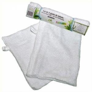 Lot de 2 Gants de Toilette Bambou  Les Acidulés  13x21 Blanc