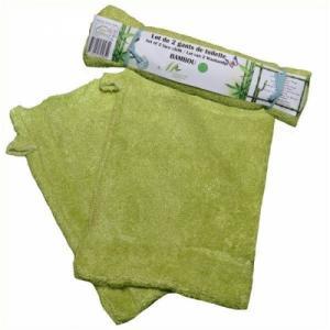 Lot de 2 Gants de Toilette Bambou  Les Acidulés  13x21 Vert Lime