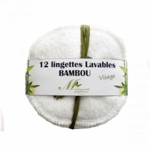 Lot de 12 lingettes Visage Bambou