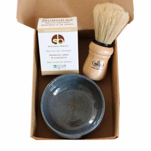 Coffret de Rasage : Blaireau - savon de rasage - bol en céramique