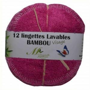 Lot de 12 lingettes Visage Bambou (Fuchsia)