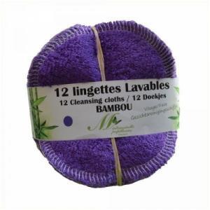 Lot de 12 lingettes Visage Bambou Violet