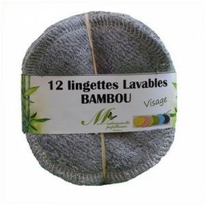 Lot de 12 lingettes Visage Bambou Gris