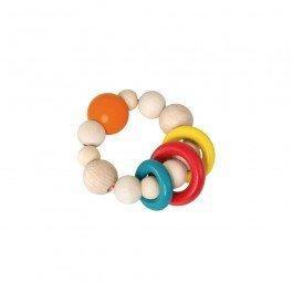 Hochet en bois anneaux colorés