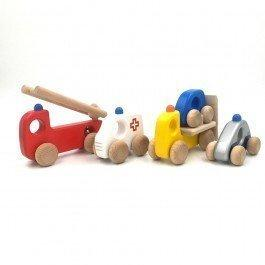 Lot de 5 véhicules en bois