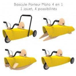 Bascule Porteur Moto 4 en 1 jaune