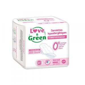 Boîte de 14 serviettes hygiéniques normales et jetables LOVE-GREEN