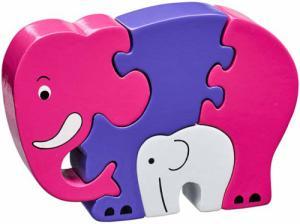 Puzzle en bois Eléphant Rose et son bébé